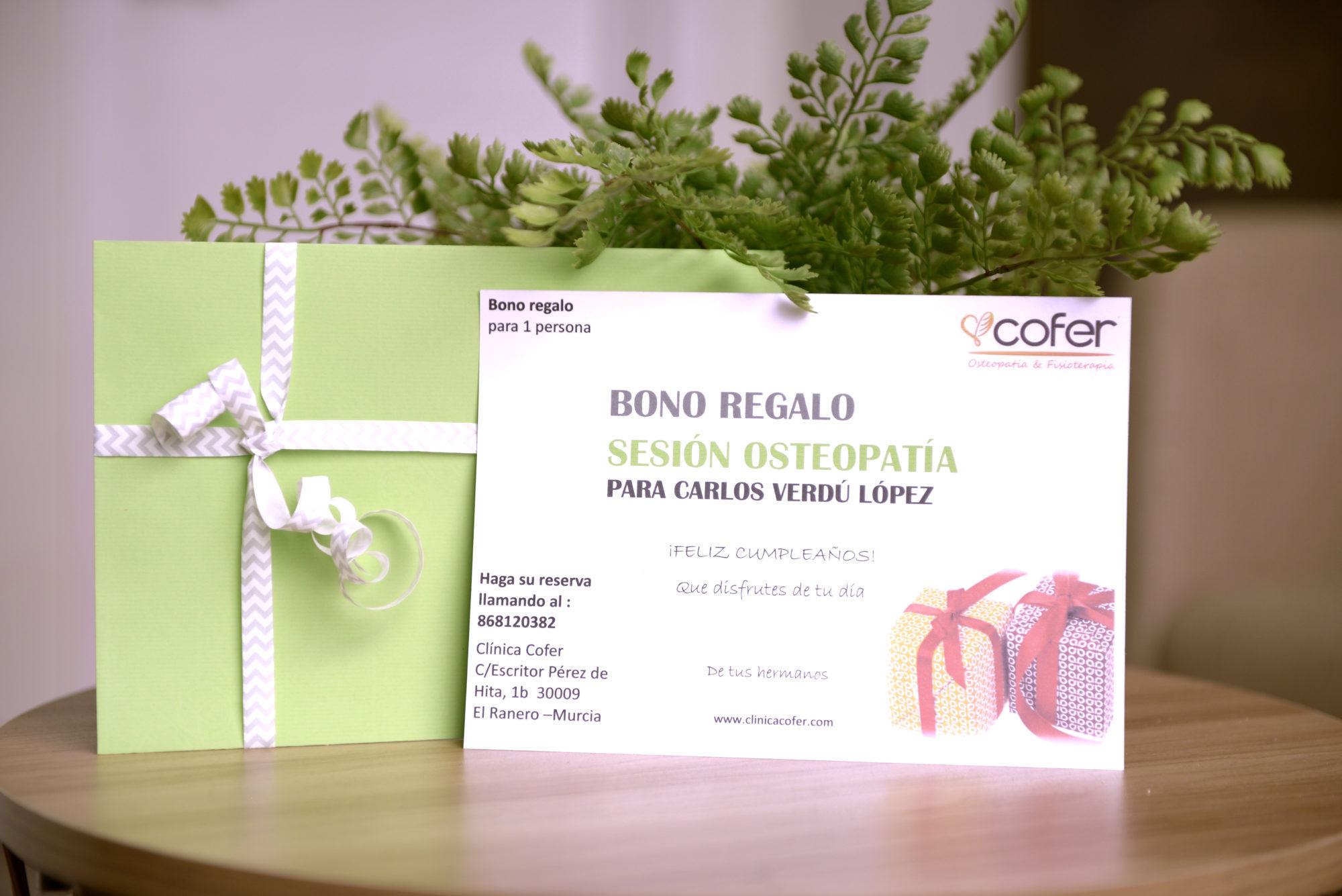 tarjetas regalo cofer clinica fisioterapia osteopatia murcia